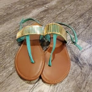 Adorable teal and gold sandals